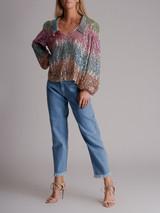 Women Rixo Lyla Sequin Top - Multicolour Size L UK 14 US 10