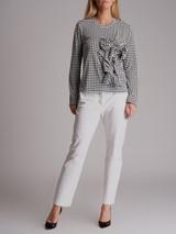 Women Comme des Garçons Houndstooth Ruffle Long Sleeve Top - White Size M UK 10 US 6