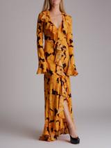 Women De La Vali Magnolia Print Clementine Dress - Yellow Size M UK 10 US 6