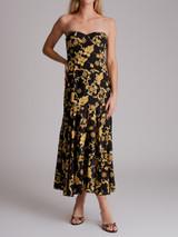 Women Veronica Beard Annika Printed Strapless Midi Dress - Black Size XS UK 6 US 2