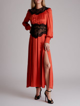 Women Alessandra Rich Lace Trimmed Satin Gown - Red Size M UK 10 US 6 IT 42
