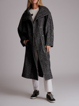 Women Loewe Patterned Wool Coat - Grey Size M UK 10 US 6 FR 38