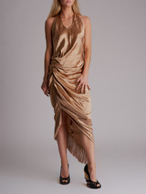 Women Helmut Lang Gathered Metallic Cocktail Dress With Fringe In Brass - Gold Size S UK 8 US 4
