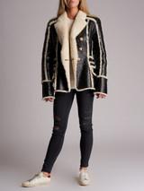 Women Balmain Shearling Biker Jacket - Black Size UK 14 US 10 FR 42