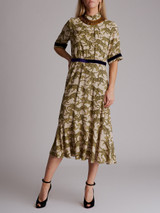 Women Dries Van Noten Leopard Printed Midi Dress - Beige Size XS UK 6 US 2 FR 34