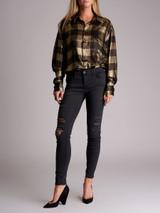 Women Redemption Metallic Checkered  Shirt - Gold Size M UK 12 US 8 FR 40