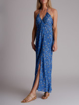 Women Rixo Halterneck Printed Dress - Blue Size XS UK 6 US 2