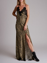 Women Redemption Leopard Printed Lace-Trimmed Maxi Dress - Brown Size M UK 10 US 6 IT 42