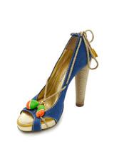 Women D Squared Nubuck And Jute Trim Embellished Open Toe Block Heel Pumps - Multicolor UK 4 US 6 EU 37