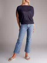 Women Emilio Pucci Bateau Neckline Top - Navy Blue  Size S UK 8 US 4 IT 40