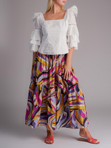 Women Sea Square Neckline Blouse -  White Size M UK 10 US 6