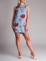 Women Miu Miu Floral Print Shift Dress - Blue  Size M UK 10 US 6 IT 42