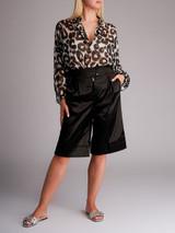 Women Giambattista Valli Animal Print Silk Blouse - Black Size L UK 12 US 8 IT 44