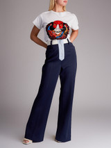 Women Miu Miu Tailored Zip Pant - Navy Blue Size L UK 14 US 10 IT 46