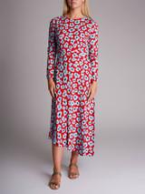 Women La Double J Pina Flower Leopard Dress - Red Size M UK 10 US 6
