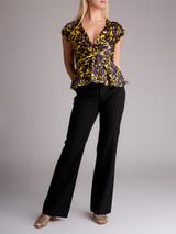 Women A.L.C Aya Floral V-Neck Peplum Blouse - Yellow Size S UK 8 US 4