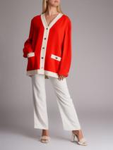 Women Gucci Contrast Detail Cardigan - Red Size L UK 14 US 10 IT 46