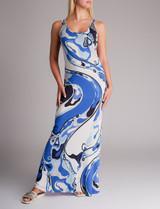 Women Emilio Pucci Print Sleeveless Maxi Dress - Blue Size M UK 12 US 10 IT 44