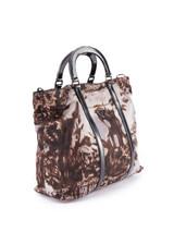Women Prada Brown Printed Nylon Tote Bag