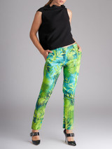Women Versace Green Jungle Print Cropped Trousers - Size M UK 10 US 6 IT 42