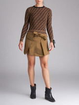 Women Fendi Brown Knit Zucca FF Logo Sweater - Size XS UK 4 US 0 IT 36