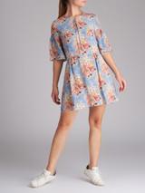 Women Vilshenko Multicolour Floral Print Silk Dress - Size L UK 12 US 8