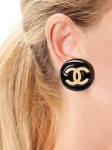 Women Chanel Vintage Black Resin CC Clip-On Stud Earrings