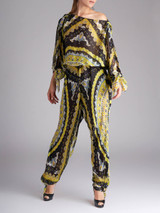 Women Emilio Pucci Multicolour Patterned Silk Jumpsuit - Size M UK 10 US 8 IT 42