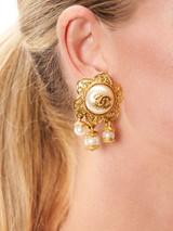 Women Chanel Vintage Gold CC Faux Pearl Earrings