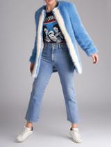 Women Shrimps Blue Alpin Faux-Fur Jacket - Size M UK 10 US 6