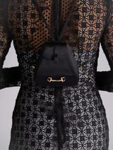 Women Gucci Vintage Satin Evening Backpack Bag with Gold Horsebit Rhinestone & Crystal Detail