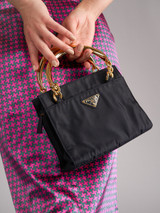 Women Prada Vintage Black Tessuto Bucket Bag with Gold Handle