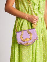 Vintage Purple Satin & Gold Crossbody Bag