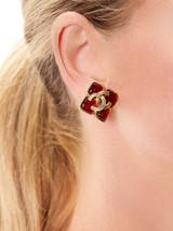 Women Chanel Vintage Red CC Stud Earring