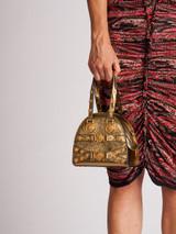 Women Versace Gold Leather Mini Medallion Tribute Bag