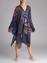 Women Etro Navy Blue Embroidered Silk Beach Cover Up Dress