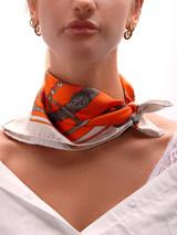 Women Hermès Orange Silk Square Printed Scarf
