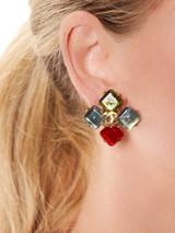 Women Chanel Vintage Multicolour CC Stud Earring