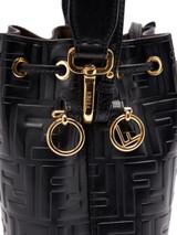 Women Fendi Black Leather Mon Tresor Bucket Bag