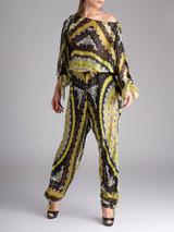Women Emilio Pucci Multicolour Pattern Silk Jumpsuit - Size L UK 12 US 10 IT 44