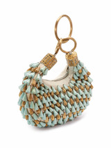 Women Chloe Vintage Handcrafted Moroccan Beaded Bracelet Bag With Gold Tone Hardware