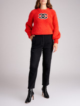 Women Chanel Red Wool Graphic Print Sweater - Size M UK 12 US 8 FR 40