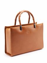 Women Gucci Vintage Brown Leather Bamboo Handbag