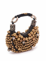 Women Chloé Vintage Black Beaded Mini Hobo Bag
