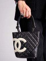 Women Chanel Vintage Black Quilted Leather Ligne Cambon Small Shopping Tote Bag