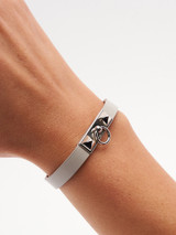 Women Hermès Grey Leather Rivale Mini Bracelet