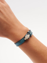 Women Bvlgari Blue Snakeskin Serpenti Forever Karung Leather Bracelet