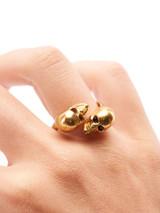 Women Alexander McQueen Gold Crystal Twin Skull Ring