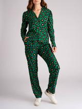 Women La Double J Green Leopard Silk Top & Pant
