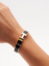 Women Hermès Gold Plated Black Clic H Bracelet